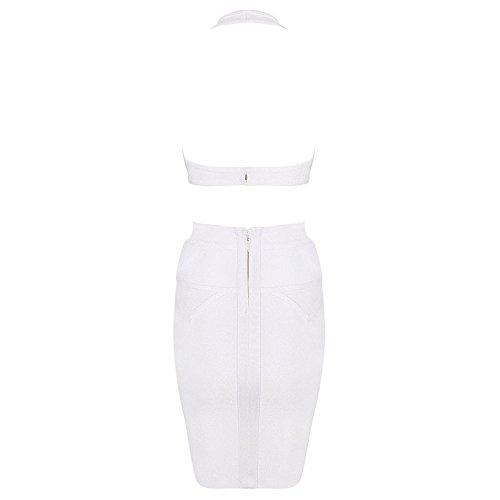 HLBandage Halter Neck Cut Out Women Rayon Bandage Dress Blanc