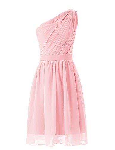 Dresstells, Robe de demoiselle d'honneur épaule asymétrique mousseline longueur au genou Rose