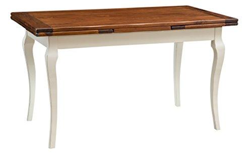 Table de style Country extensible en bois massif de tilleul châssis blanche vieillie surface en noisetier aux dimensions L140 xPR80 xH80 cm