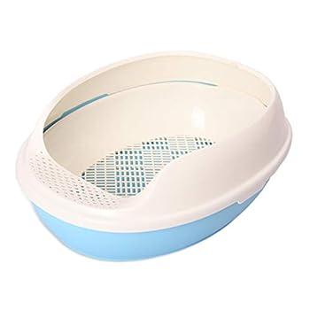 Wcx Rotin Toilette Chat,Animaux Domestiques Loo Double Couche Toilette Chats Antibactérien Pot 50x38x20cm (Couleur : Bleu)