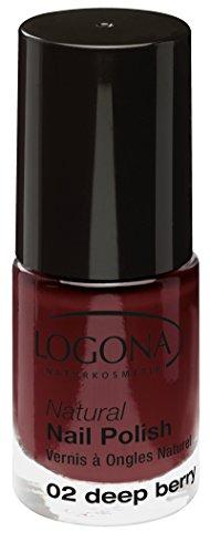 LOGONA Naturkosmetik Natural Nail Polish, Nagellack No. 02 Deep Berry, Tief-roter Beerenton,...