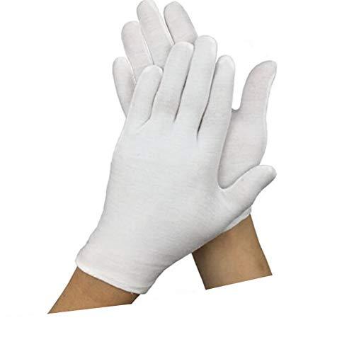 12 Paar weiße weiche Baumwoll-Handschuhe für Münzschmuck, dicke Arbeitshandschuhe, waschbar und wiederverwendbar, für Münzschmuck, Silberinspektion, formelle Marscharbeitshandschuhe - Weiße Baumwoll-arbeitshandschuhe