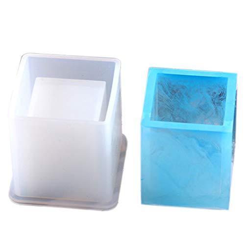 Cdrox Silikon-Form-Feder-Behälter Cube Zylinder-Speicher-Halter Epoxyharzformen Handgemachte DIY Supplies -