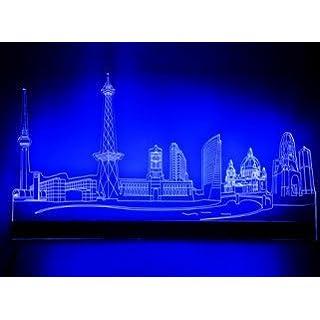 Designer Wall Light with Berlin Skyline Design, Cold White, 100 cm Breite