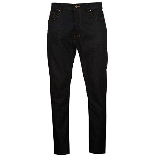 Soviet Hommes Coupe Droit Raw Jeans Pantalon En Denim Decontracte Poches Zip Raw Strght