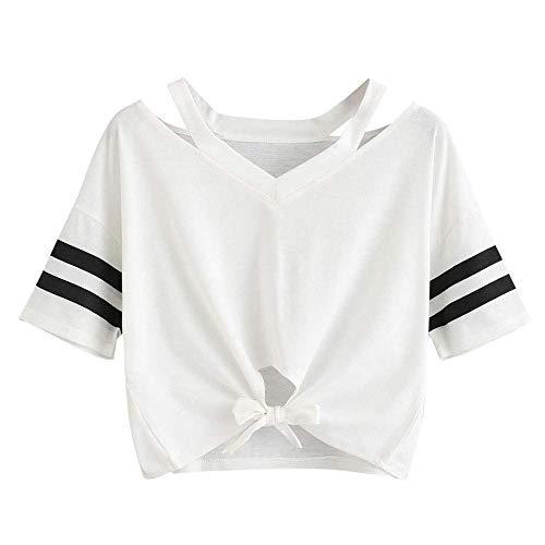 KIMODO T Shirt Damen Locker Einfarbig Sommer Kurzarm Bluse Lässig Top mit V-Ausschnitt Bogen-Knoten-Verband Oberteile Shirt Mode 2019 (Blau Und Weiß Tie-dye Hoodie)