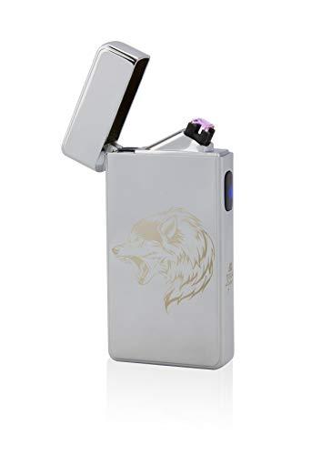 Tesla Mechero T13 ARC Mechero, Plasma Doble Arco, Recargable electrónicamente, Recargable con energía a través de USB, sin Gas y Gasolina, con Cable de Carga, en Noble Caja de Regalo, Lobo de Plata
