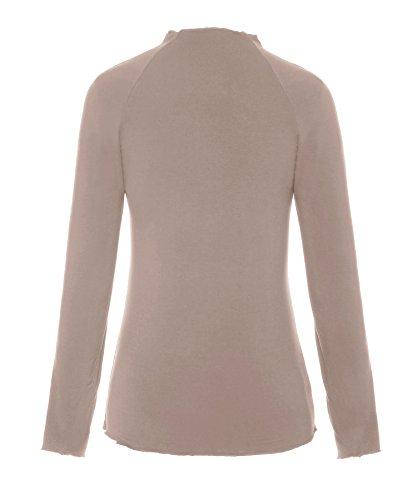 ReliBeauty – Femme – Tops – manches longues – couleur unie Brun clair