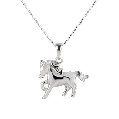 FIVE-D Set Kette Kinder Anhänger kleines Pferd Pony 925 Silber im Schmucketui Kettenlänge: 36 cm (Silber)