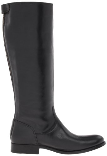 FRYE Women's Melissa Button Back-Zip Boot, Black Wide Calf Smooth Vintage Leather, 6.5 M US Black Wide Calf Smooth Vintage Leather-76431
