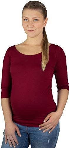Evagreen Langarmshirt für Schwangere | Umstandsmode | Umstands-Shirts für den Alltag hergestellt in der EU | Tolles Geschenk für Mama (XXL, Burgunderrot)