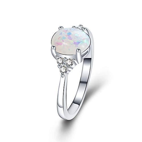 Yazilind Damen schmuck Ring Versilberung Vintage Marquise mit Zirkonia Steine mit Opal (20,1)