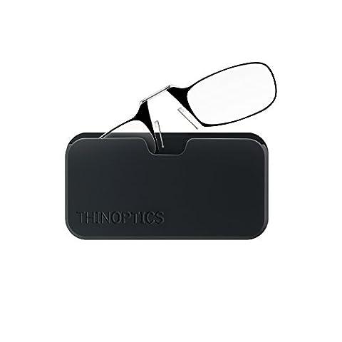 ThinOptics Universal Pod and +1.50 Reading Glasses Case Black with