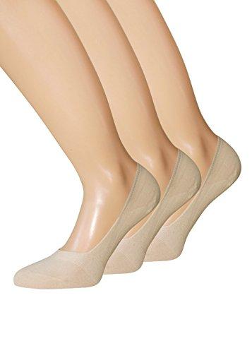 Damen Füsslinge Sneaker Socken schwarz weiss hautfarben für Damen und Herren aus BAUMWOLLE 43-46 39-42 35-38, 1 Paar oder3 Paar (43-46, 3 Paar Hautfarbe)