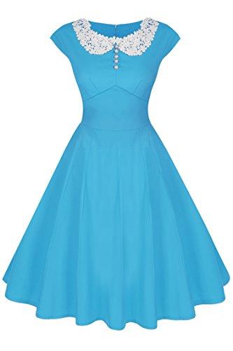 cooshional Damen Vintage Kleider Abendkleider Retro Rockabilly Sommer Cocktail Kleid Partykleid Himmelblau