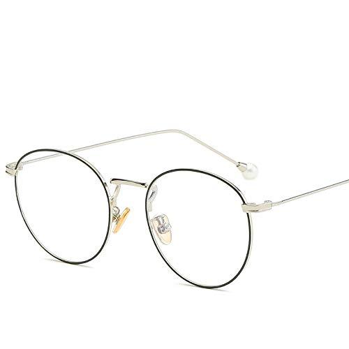 Easy Go Shopping PC-Brille UV-Cut eckige Brille Unisex Blaulicht-Sonnenbrille für Brillen Sonnenbrillen und Flacher Spiegel (Color : Black+Silver, Size : Kostenlos)