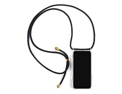 LUZAL Handyhülle mit Band zum Umhängen kompatibel für iPhone X/XS / 10 - Mit Band Schutzhülle zum Umhängen Urlaubszubehör (iPhone X/XS /10, schwarz-Gold) 10 Band