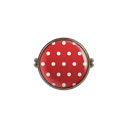 Mylery Ring mit Motiv Polka Dots Punkte gepunktet Rot Weiß bronze ()