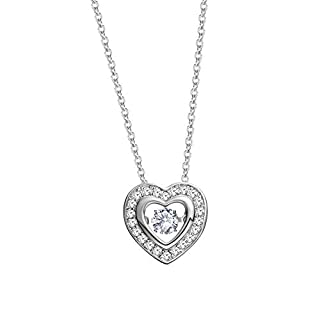 Beydodo Necklace Heart for Women Double Heart Pendant with Floating CZ Necklace for Wedding Dress