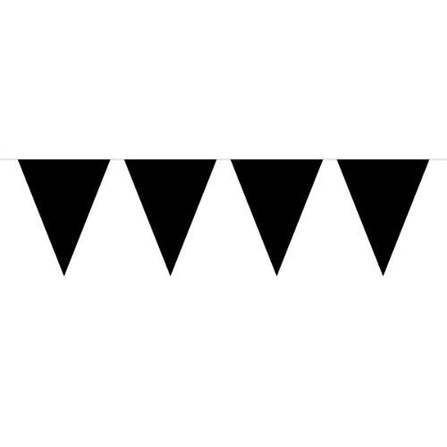 Wimpelkette, Wimpelgirlande, 10Meter, mit 15schwarzen Wimpeln, Partydekoration