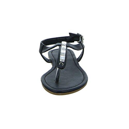 living Updated KL-15702 Damen Sandalette bis 30mm Absatz Schwarz (Schwarz)