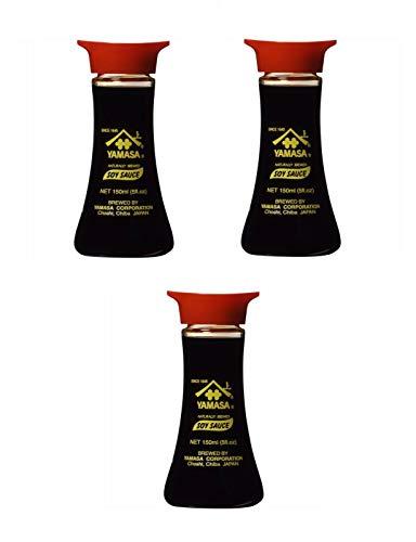 Pamai Pai® Dreierpack: 3 x 150ml Tischflasche Yamasa Sushi Soy Sauce Sojasoße - Sauce Sushi