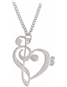 Deluxe XL Halskette Herz Note Geschenk Damen Vergoldet oder Versilbert 3D