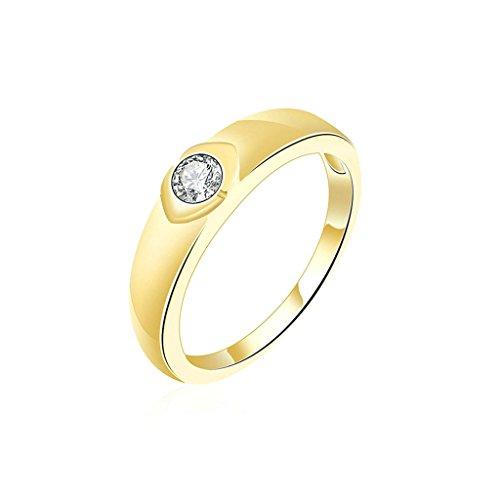 Daesar Gioielli Placcato Oro Anelli Donna Anello di fidanzamento Oro Rotondo Zirconi Anelli Dimensioni:17