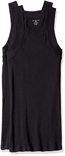Evolve Herren Cotton Comfort Square Cut Tank Multi Pack Unterhemd, schwarz, Large - Square Tank