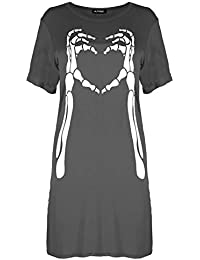 b618d327e03a Be Jealous Womens Ladies Halloween Skeleton Bones Heart Baggy Tunic Mini T-Shirt  Dress Top