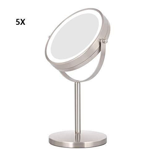 Runder Kosmetikspiegel, Schminkspiegel, Make-Up Spiegel, verstellbarem natürlichem weichem Licht, Doppelseiten-Spiegel 1x / 5X Vergrößerungsspiegel mit Standfuß, schwarzer Schminkspiegel