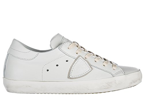 Philippe Model Chaussures Baskets Sneakers Femme en Cuir Paris Blanc