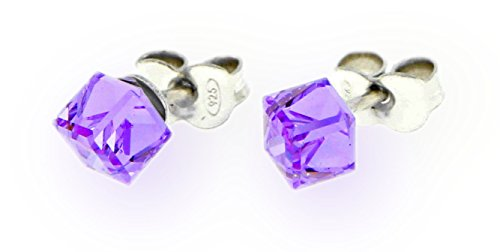 Ana Morales Boucles d'oreilles pour femme en argent sterling 925 avec cristaux Swarovski Violett