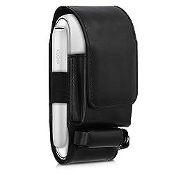 kwmobile Hülle 3in1 kompatibel mit IQOS 3 Pocket Charger - Kunstleder Case IQOS Starter-Kit Schutzhülle in Schwarz