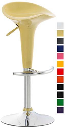 Clp sgabello design saddle in plastica - sgabello penisola cucina con poggiapiedi - sgabello girevole regolabile h 60-81cm - sedia sgabello moderna metallo cromato, carico max 120kg crema