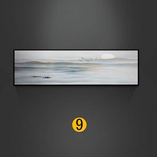 Bilder Auf Leinwand Chinesische Tinte Abstraktion, Farbige Gradient Berge, Sonne, Tiere Vögel, Boote,Leinwand Wand Bild Wohnzimmer Büro Schlafzimmer, Moderne Leinwand Wand Kunst Leinwand Poster B