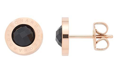 JEWELS BY LEONARDO Damen-Ohrstecker Matrix roségold/schwarz, Edelstahl roségold mit Farbglasstein schwarz und LEONARDO-Gravur, (B/H/T): 10/10/14 mm