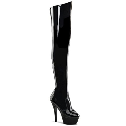 Pleaser Kiss-3010 - Sexy Stiletto Plateau Overknee Stiefel High Heels 36-45, Größe:EU-35 / US-5 / UK-2