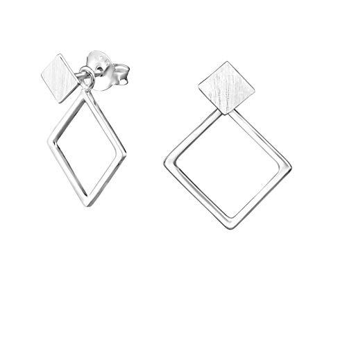 Laimons Damen-Ohrstecker Damenschmuck Quadrat, viereckiges Design matt glanz Sterling Silber 925