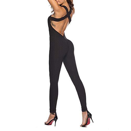 YEZIJIANG Damen Sport Jumpsuit Rückenfrei Yoga Bodysuit Overall Gefaltet Leggings Sporthosen Bandage Playsuits Jogging Strampler Hosenanzug Trainingsanzug Frauen Einteiler Fitness Enge Hosen