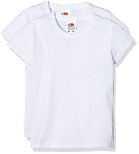 Fruit of the Loom Jungen T-Shirt Girls Valueweight T, Weiß (Blanco), 140 cm (Herstellergröße: 9-11 Años (140 cm)