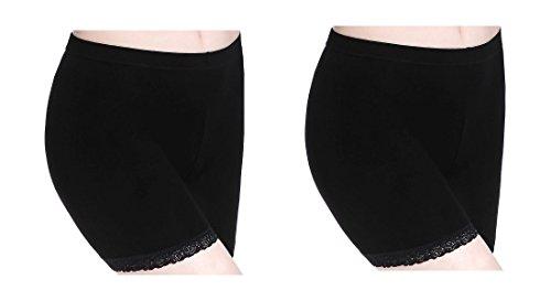 CnlanRow Damen Hose Unter Kleid Short Leggings Kurz Spitze - Schlaf Atmungsaktive Pants