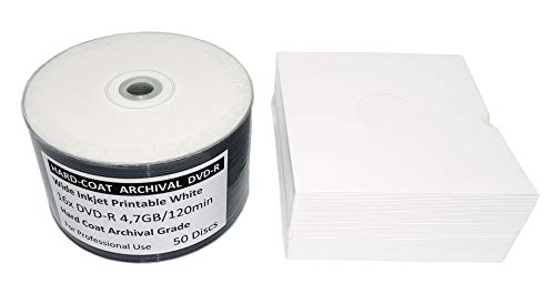 50 Bedruckbare DVD Rohlinge LifeTime Archival Grade Hard-Coat MP-Pro DVD-R 4,7 GB 16x Wide Inkjet Printable weiß + GRATIS 50 Karton CD Hüllen mit Griffloch
