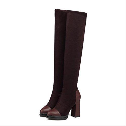 Stivali Stivali donna tacco alto con lunghi stivali di moda autunno e inverno brown