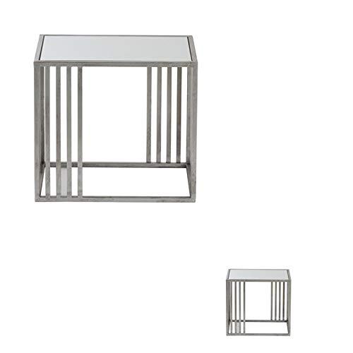 Tousmesmeubles Duo de Bouts de canapé Métal Argent/Verre - ARONE - L 45 x l 36 x H 50 - Neuf