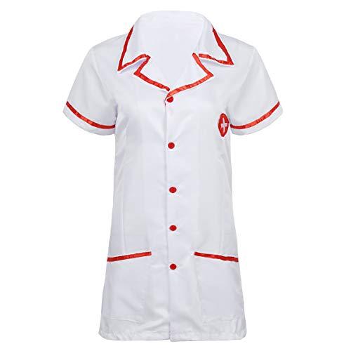Alvivi Damen Ärztin Krankenschwester Kostüm Frauen Doktor Arzt Kostüm Rollenspiel Dessous-Kleidung Set Karneval Fasching Cosplay Verkleidung Weiß One Size