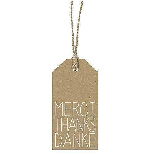 PET Vino Geschenkanhänger Danke Thanks Merci 8x16cm
