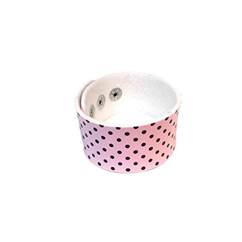 Bracelet en cuir imprimé pois noir/rose