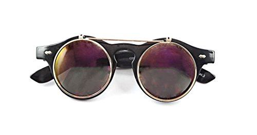 Ultra® Black Frame Lila Gespiegelten Linsen hochklappen Kreis Steampunk Hohe Qualität Schutzbrille Brille Retro Vintage Gothic Stil Runde Cyber UV400 (Weibliche Kostüme Steampunk)