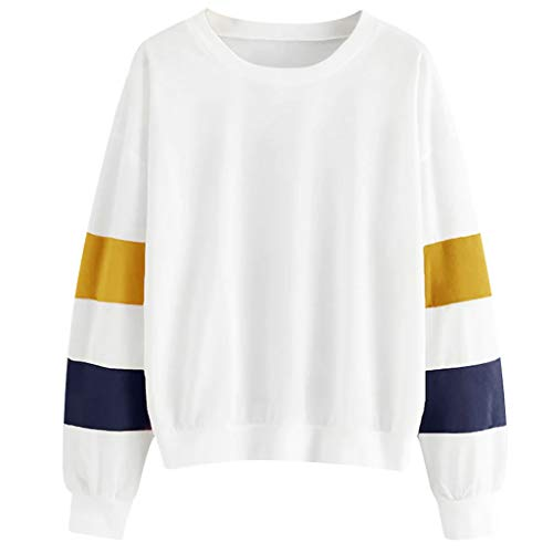 ◆Elecenty◆ Sweatshirts Damen Baumwolle Kurz Bauchfrei Sweatshirt Warm Herbst Pullis Locker Oberteile Mode Tops Gestreift Bluse -